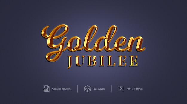 Efecto de texto del jubileo de oro diseño efecto de estilo de capa de photoshop