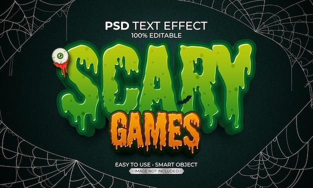 Efecto de texto de juego asustado