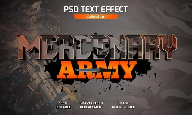 Efecto de texto del juego de supervivencia del ejército mercenario