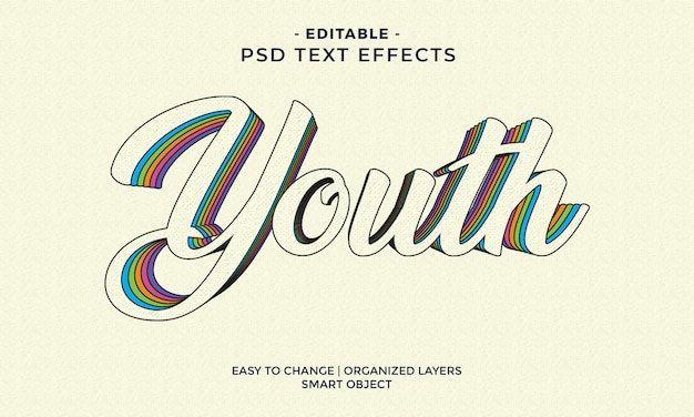 Efecto de texto juvenil colorido moderno