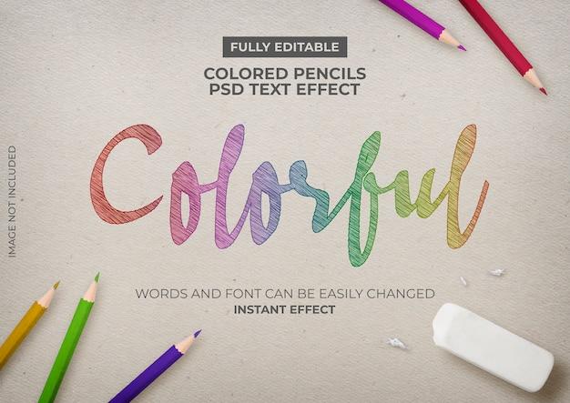 Efecto de texto de lápices de colores