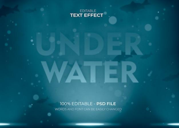 Efecto de texto de letras bajo el agua