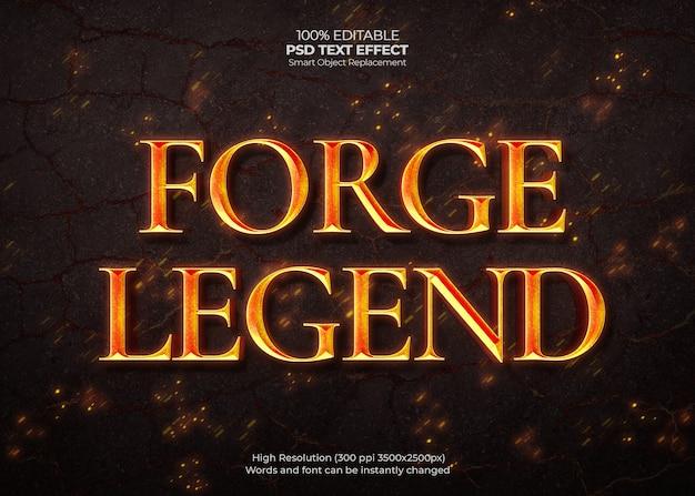 Efecto de texto de leyenda de forja