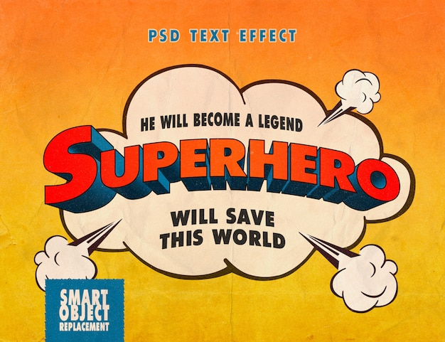 Efecto de texto de libro de cómics de superhéroe