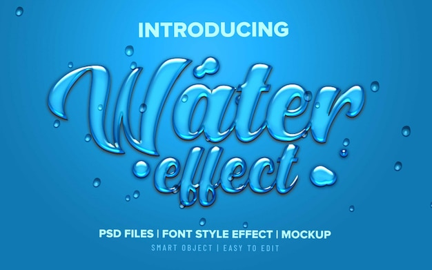 Efecto de texto líquido de agua 3d