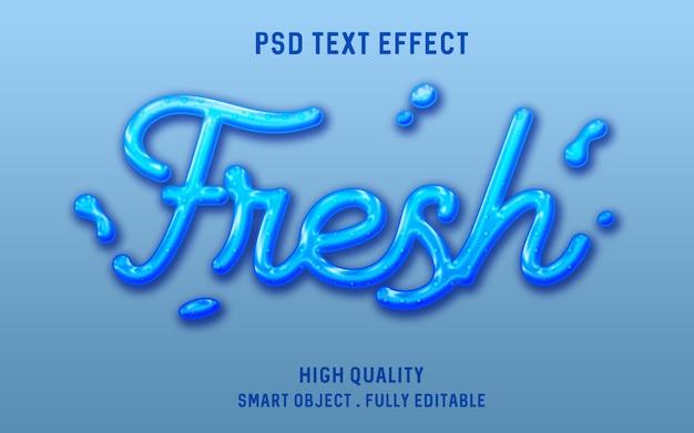 Efecto de texto líquido de agua dulce 3d