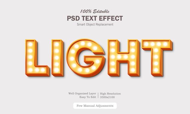 Efecto de texto de luz moderna