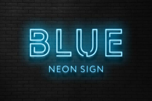 Efecto de texto de luz de neón azul