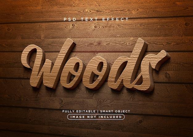 Efecto de texto de madera de estilo 3d