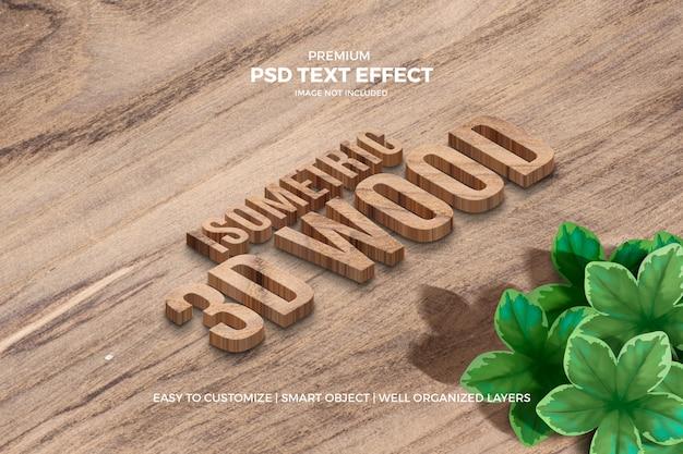 Efecto de texto de madera isométrica 3d