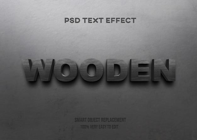 Efecto de texto de madera negra en la pared