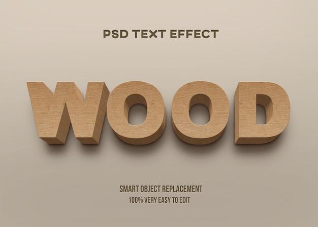 Efecto de texto de madera en negrita fuerte 3d