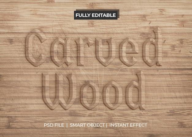 Efecto de texto de madera tallada