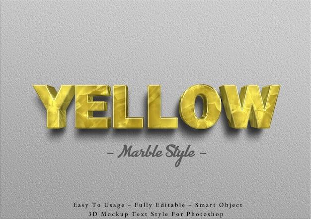 Efecto de texto de mármol amarillo 3d en la pared