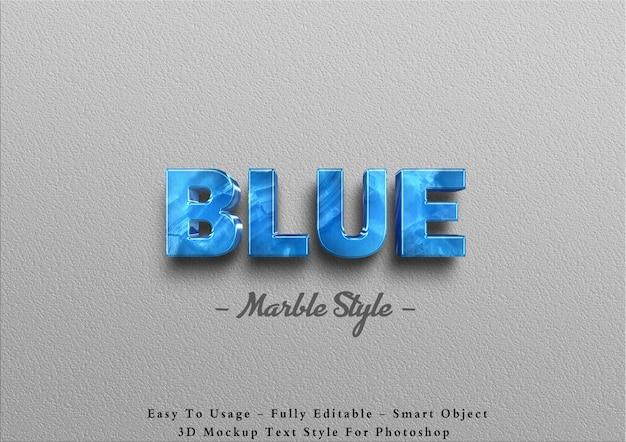 Efecto de texto de mármol azul 3d
