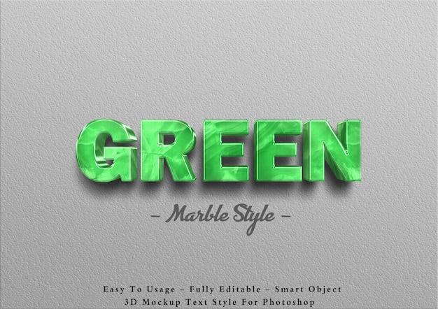 Efecto de texto de mármol verde 3d en la pared