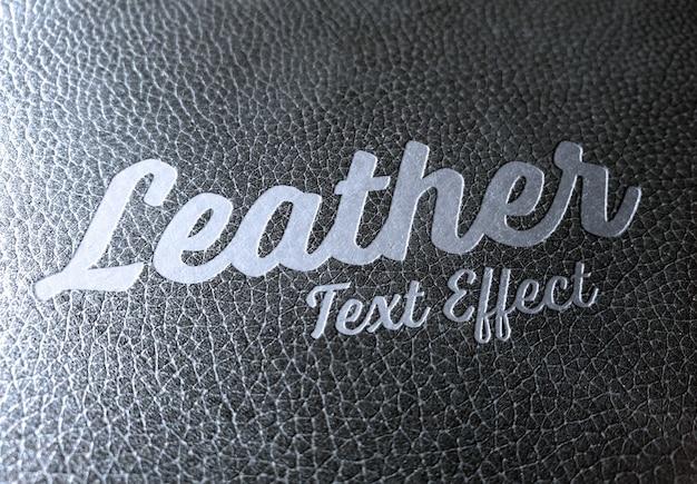 Efecto de texto de metal biselado en maqueta de cuero