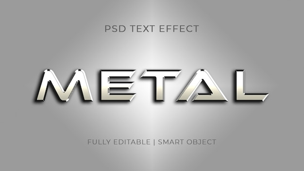 Efecto de texto de metal plateado