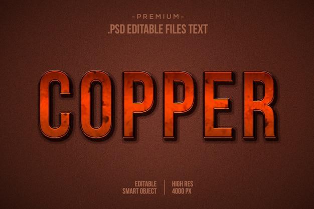 Efecto de texto metálico de cobre en 3d, efecto de texto metálico de cromo, efecto de texto de cobre metálico con estilos de capa