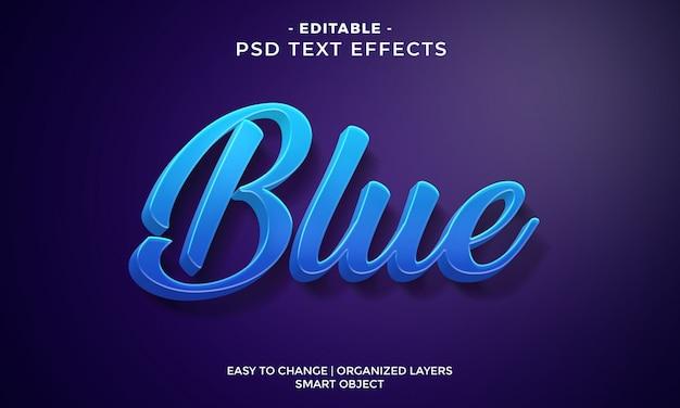 Efecto de texto moderno colorido azul fresco