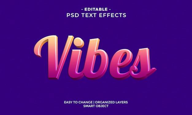 Efecto de texto moderno colorido vibes 3d