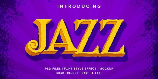 Efecto de texto de música de jazz vintage 3d