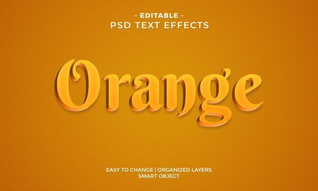 Efecto de texto naranja 3d colorido moderno