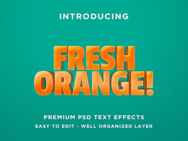 Efecto de texto de naranja fresca