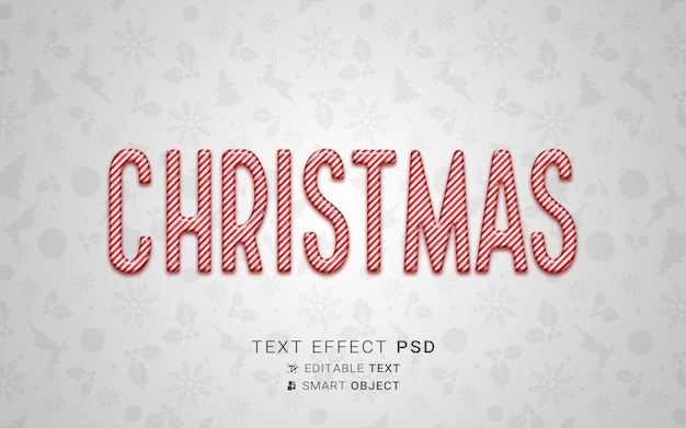 Efecto de texto navideño festivo