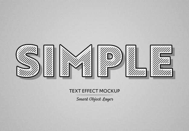 Efecto de texto en negrita negro con líneas blancas maqueta