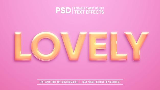 Efecto de texto de objeto inteligente editable 3d de plástico precioso brillante