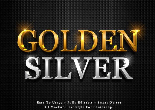 Efecto de texto de oro y plata 3d