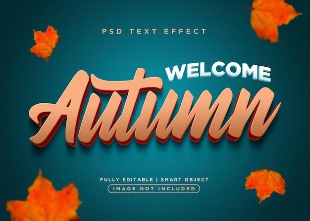 Efecto de texto de otoño de estilo 3d