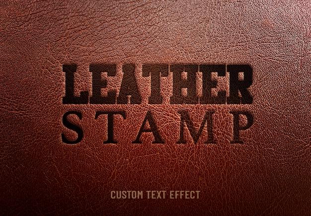 Efecto de texto personalizado sello de cuero