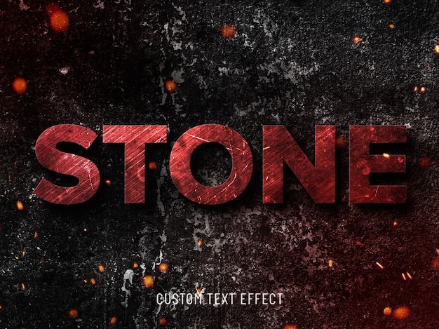 Efecto de texto de piedra grunge