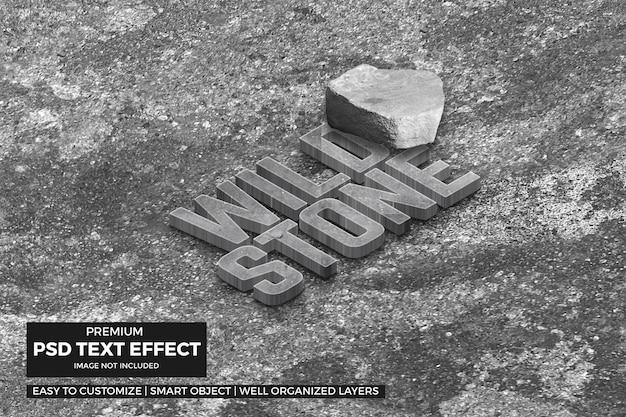 Efecto de texto de piedra isométrica 3d