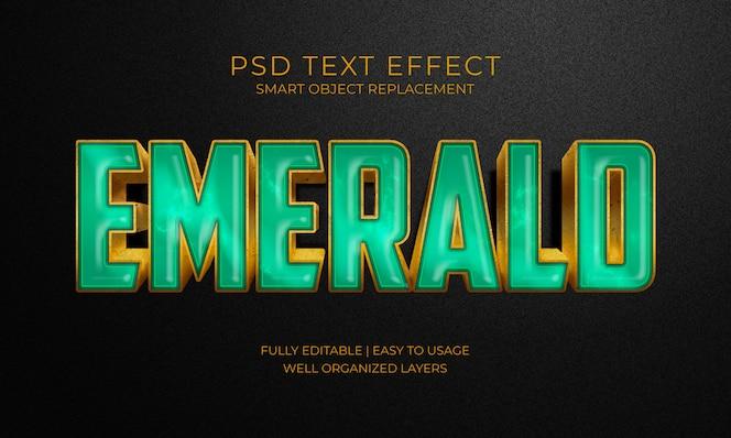 Efecto de texto de piedra verde esmeralda