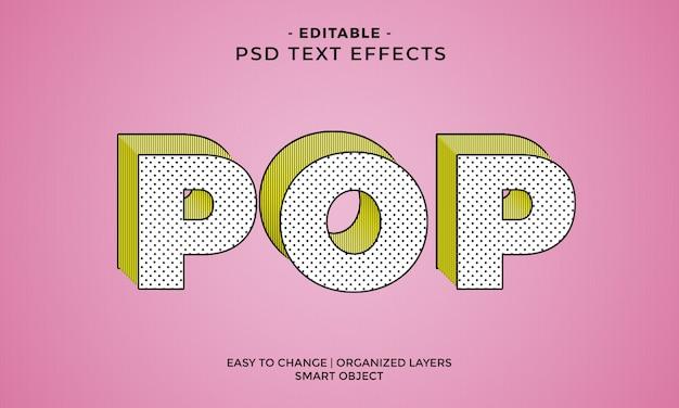 Efecto de texto pop colorido y moderno