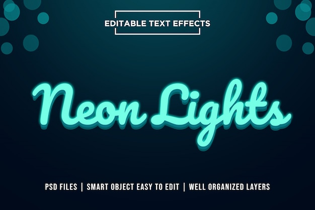 Efecto de texto premium de luces de neón 3d