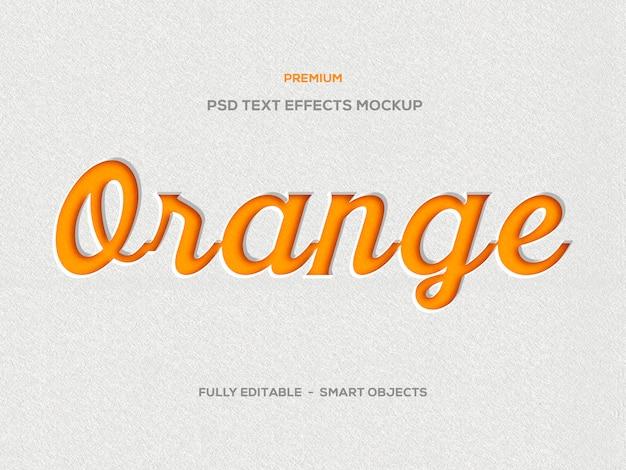 Efecto de texto presionado 3d naranja
