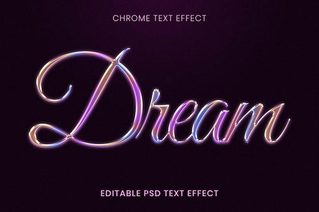 Efecto de texto psd editable de chrome