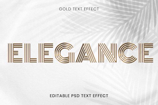 Efecto de texto psd editable dorado