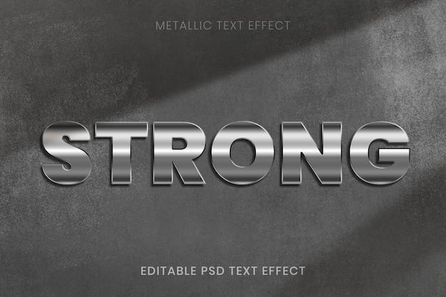 Efecto de texto psd editable metálico