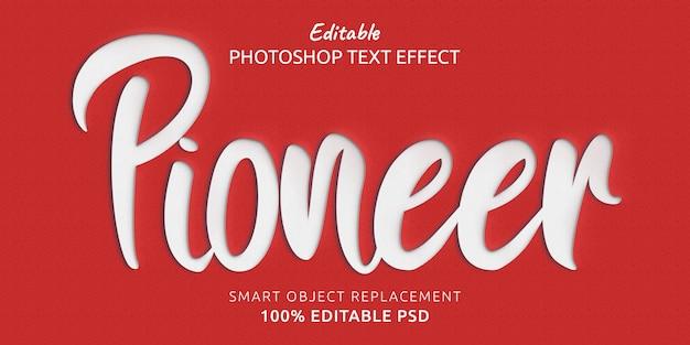 Efecto de texto psd editable de pioneer