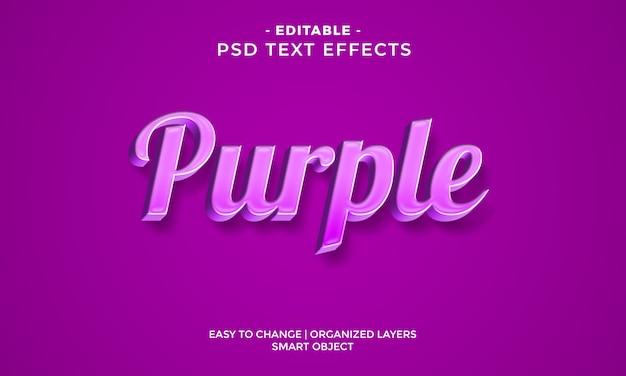 Efecto de texto púrpura 3d colorido moderno