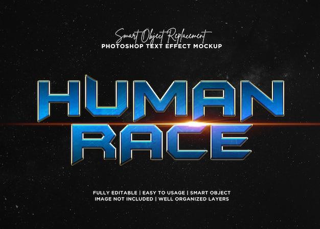Efecto de texto de raza humana de estilo 3d