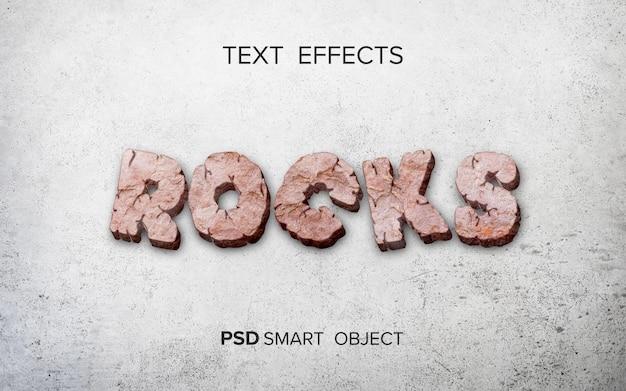 Efecto de texto rocas estilizadas