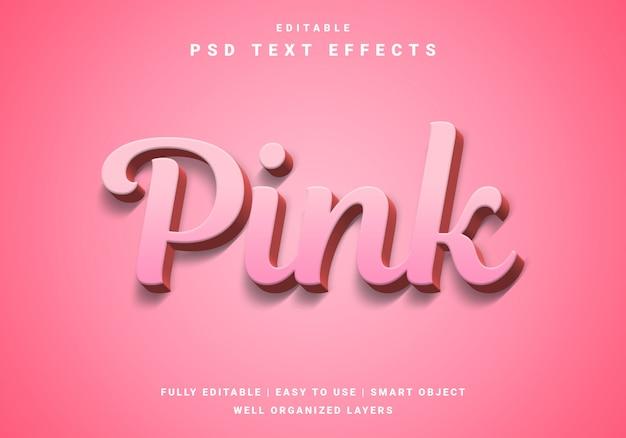 Efecto de texto rosa 3d moderno de san valentín