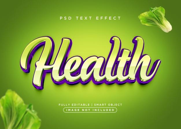 Efecto de texto de salud de estilo 3d
