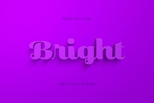 Efecto de texto de script 3d púrpura brillante